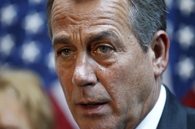 House Speaker John Boehner of Ohio meets with reporters following a GOP strategy session on Capitol Hill in Washington, Thursday, May 31, 2012.   (AP Photo/J. Scott Applewhite)