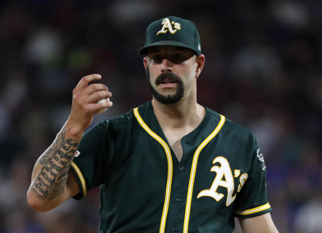"""A's pitcher <a class=""""link rapid-noclick-resp"""" href=""""/mlb/players/9078/"""" data-ylk=""""slk:Mike Fiers"""">Mike Fiers</a>, who blew the whistle on the <a class=""""link rapid-noclick-resp"""" href=""""/mlb/teams/houston/"""" data-ylk=""""slk:Astros"""">Astros</a>' sign-stealing scheme, is refusing to comment further on the situation. (AP Photo/Tony Gutierrez)"""