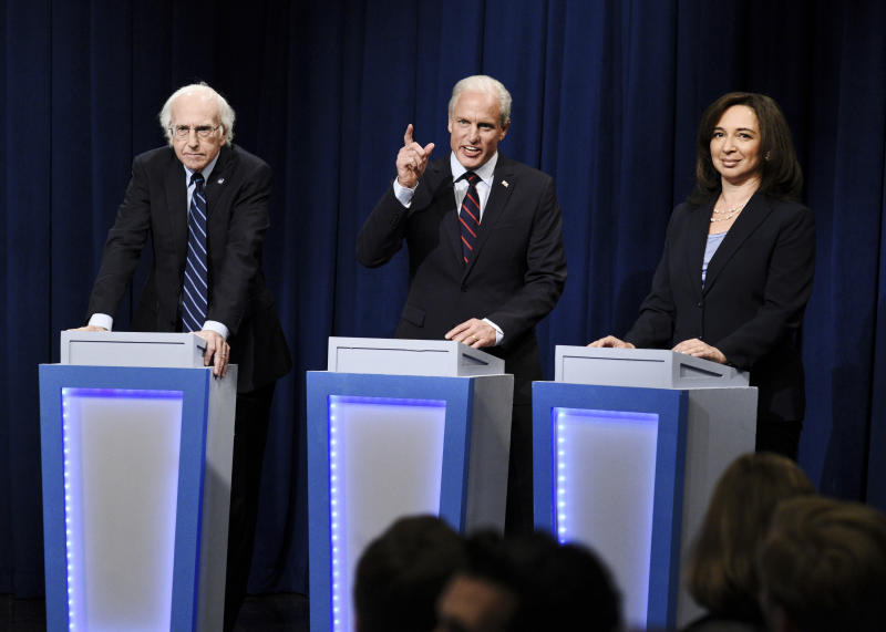 from left, Larry David, Woody Harrelson and Maya Rudolph