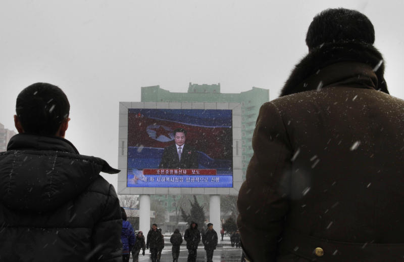 "On a large television screen in front of Pyongyang's railway station, a North Korean state television broadcaster announces the news that North Korea conducted a nuclear test on Tuesday, Feb. 12, 2013. North Korea conducted a nuclear test at an underground site in the remote northeast Tuesday, taking an important step toward its goal of building a bomb small enough to be fitted on a missile that could reach United States. The TV screen text reads ""Korean Central News Agency reports,"" and ""The third underground nuclear test successfully conducted."" (AP Photo/Jon Chol Jin)"