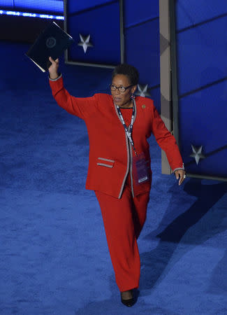 FILE PHOTO: Representative Marcia Fudge takes the stage at the Democratic National Convention in Philadelphia, Pennsylvania