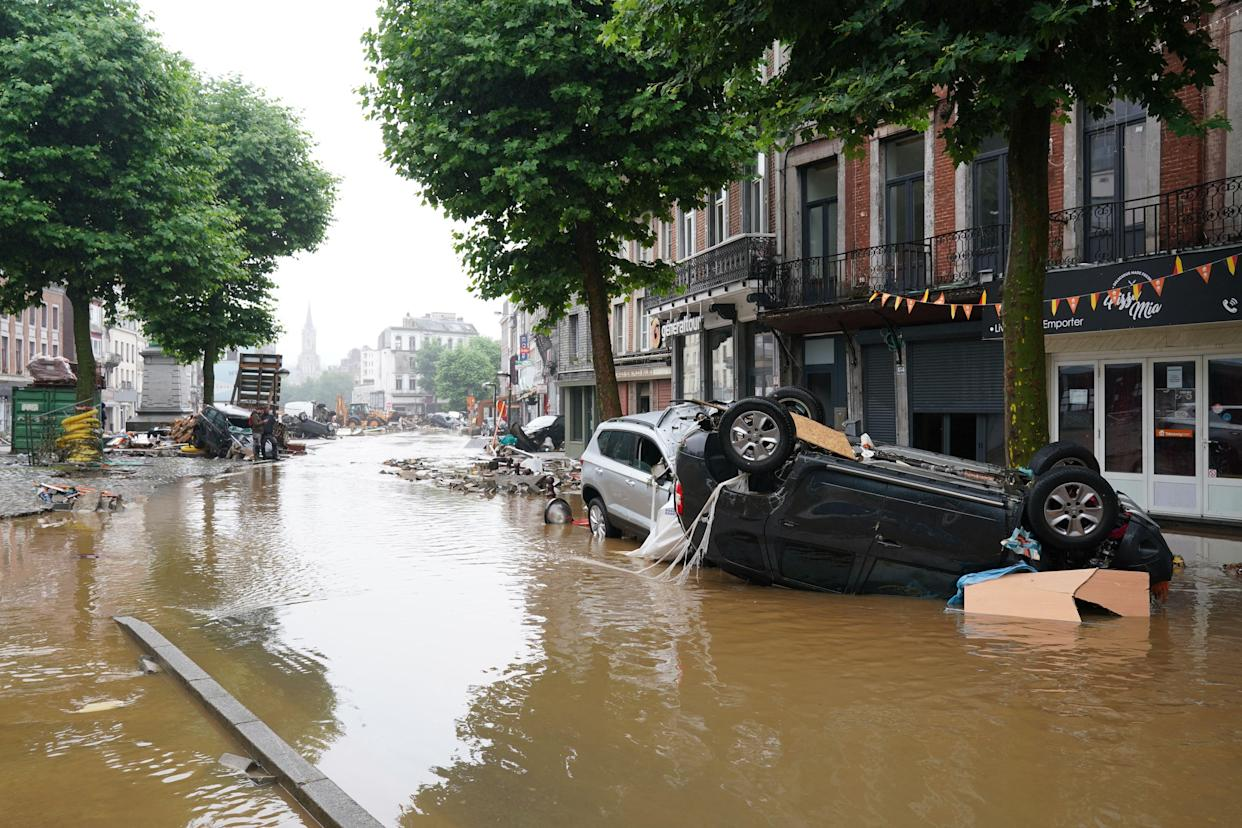 A picture taken on July 15, 2021, shows a flooded street in the Belgian city of Verviers, near Liege, after heavy rains and floods lashed western Europe. - The provincial disaster plan has been declared in Liege, Luxembourg and Namur provinces after large amounts of rainfall. Water in several rivers has reached alarming levels. - Belgium OUT (Photo by ANTHONY DEHEZ / BELGA / AFP) / Belgium OUT (Photo by ANTHONY DEHEZ/BELGA/AFP via Getty Images)