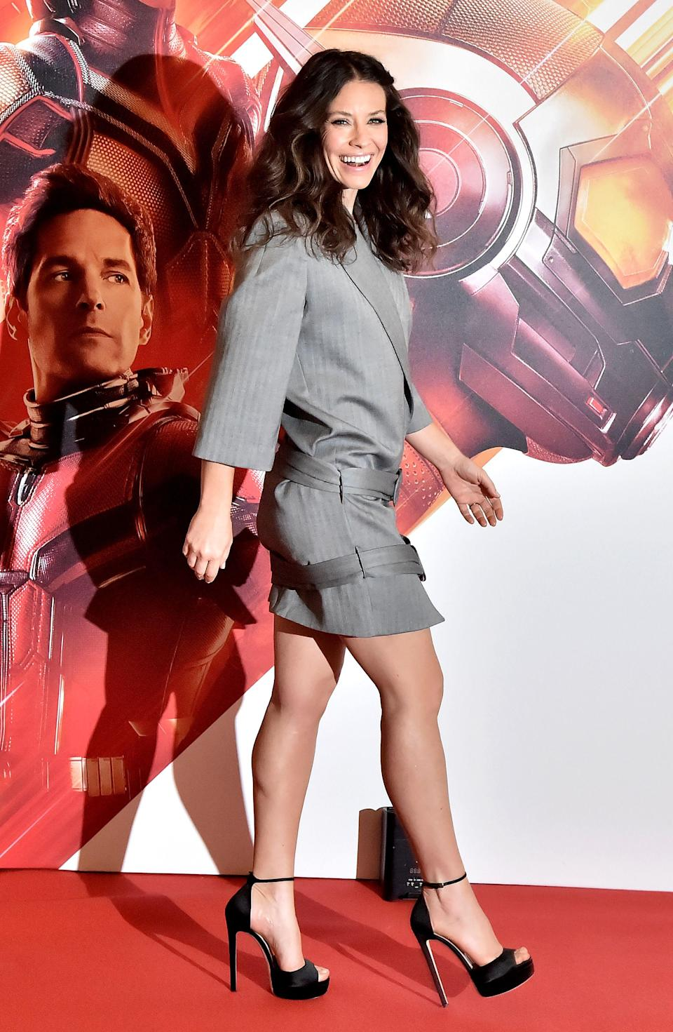 <p>Yep, Evangeline Lilly made yet another red carpet appearance this month in a double-belted blazer dress. <em>[Photo: Getty]</em> </p>