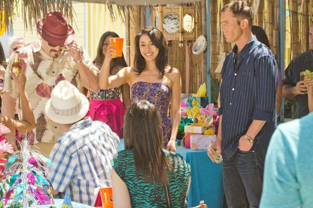 "David Zayas as Angel Batista, Aimee Garcia as Jamie Batista, and Desmond Harrington as Joey Quinn in the ""Dexter"" Season 8 episode, ""A Little Reflection."""