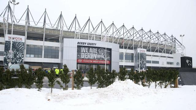 Snowy conditions in England have forced Derby County's Championship game with second-placed Cardiff City to be postponed.