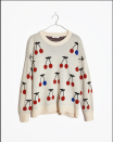 """<p><strong>Madewell</strong></p><p>madewell.com</p><p><a href=""""https://go.redirectingat.com?id=74968X1596630&url=https%3A%2F%2Fwww.madewell.com%2Fcherry-jacquard-pullover-sweater-MA694.html&sref=https%3A%2F%2Fwww.cosmopolitan.com%2Fstyle-beauty%2Ffashion%2Fg34276815%2Fmadewell-jeans-sale-october-2020%2F"""" rel=""""nofollow noopener"""" target=""""_blank"""" data-ylk=""""slk:SHOP NOW"""" class=""""link rapid-noclick-resp"""">SHOP NOW</a></p><p><strong><del>$85</del> <del>$75</del> $53 (30% off)</strong> </p><p>I saw this cherry-printed sweater IRL at my mall's Madewell and have been patiently waiting for the boxy-fitted beauty to go on sale. At $53, I'll personally be treating myself to this pullover. </p>"""
