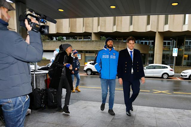 Russian speed skating athlete Alexander Rumyantsev arrives at the Court of Arbitration for Sport (CAS) for the hearings of the cases of 39 of the 42 Russian athletes who have challenged the decisions taken by the Disciplinary Commission of the International Olympic Committee (IOC DC) in relation to the 2014 Sochi Winter Olympic Games, in Geneva, Switzerland, January 22, 2018. REUTERS/Pierre Albouy