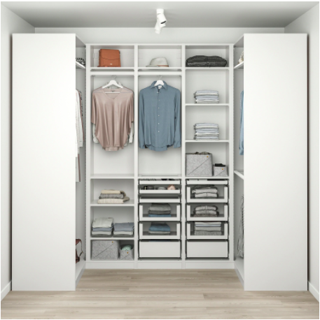 """<h2>IKEA Closet System</h2><br>Want to go big this year? What better way to say I love you than to get your loved one a whole new customized closet. <br><br><strong>Ikea</strong> PAX Corner wardrobe - white 44 1/2/106 5/8/44 1/2x93 1/8 """", $, available at <a href=""""https://go.skimresources.com/?id=30283X879131&url=https%3A%2F%2Fwww.ikea.com%2Fus%2Fen%2Fp%2Fpax-corner-wardrobe-white-s09331109%2F"""" rel=""""nofollow noopener"""" target=""""_blank"""" data-ylk=""""slk:Ikea"""" class=""""link rapid-noclick-resp"""">Ikea</a>"""