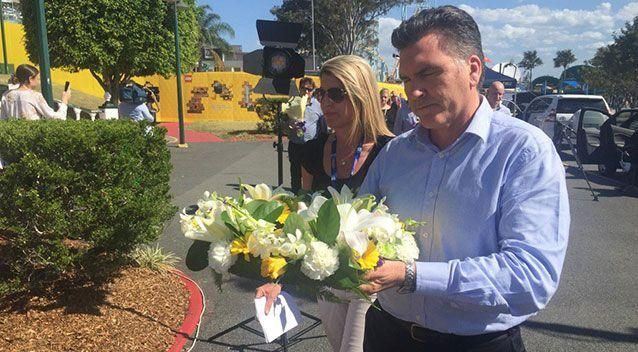 Dreamworld CEO laid a wreath outside the theme park late last week. Source: 7 News.