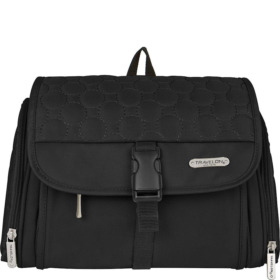"<h3><strong>Travelon Hanging Toiletry Kit</strong></h3><br><strong>The Hang-It-Up Organizer</strong><br><br>Overpackers, rejoice: Travelon's take on the beauty organizer features an insane amount of space to carry every product in your 15-step skincare routine, and even gives you the option to hang it on a hook for eye-level access.<br><br><strong>The Hype: </strong>4.6 out of 5 stars and 144 reviews on <a href=""https://www.ebags.com/product/travelon/hanging-toiletry-kit/254386"" rel=""nofollow noopener"" target=""_blank"" data-ylk=""slk:eBags"" class=""link rapid-noclick-resp"">eBags</a><br><br><strong>Organization Obsessives Say: </strong>""Lots of options for organizing and grouping toiletry items. Easy to overstuff and still get all the zippers closed. Have not used it hanging up, but it works very well laid out on a counter."" — Anonymous eBags Reviewer<br><br><strong>Travelon</strong> Travelon Hanging Toiletry Kit - Quilted, $, available at <a href=""https://go.skimresources.com/?id=30283X879131&url=https%3A%2F%2Fwww.ebags.com%2Fproduct%2Ftravelon%2Fhanging-toiletry-kit%2F254386"" rel=""nofollow noopener"" target=""_blank"" data-ylk=""slk:eBags"" class=""link rapid-noclick-resp"">eBags</a>"