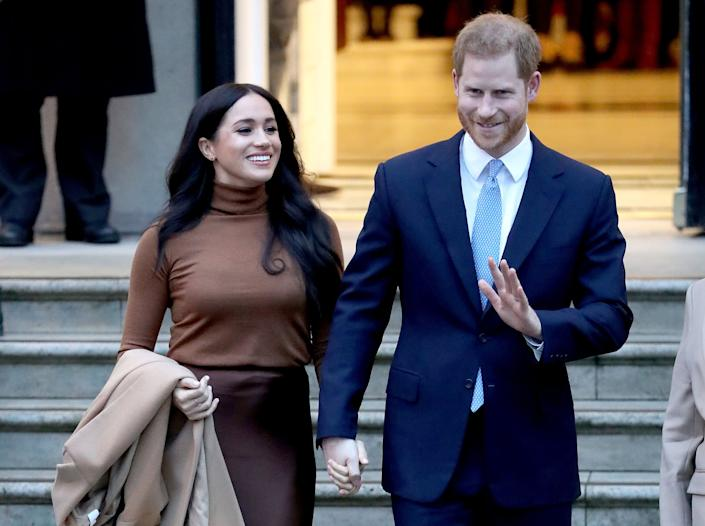 Prince Harry, Duke of Sussex and Meghan, Duchess of Sussex depart Canada House on January 07, 2020 in London, England. (Photo: Chris Jackson via Getty Images)