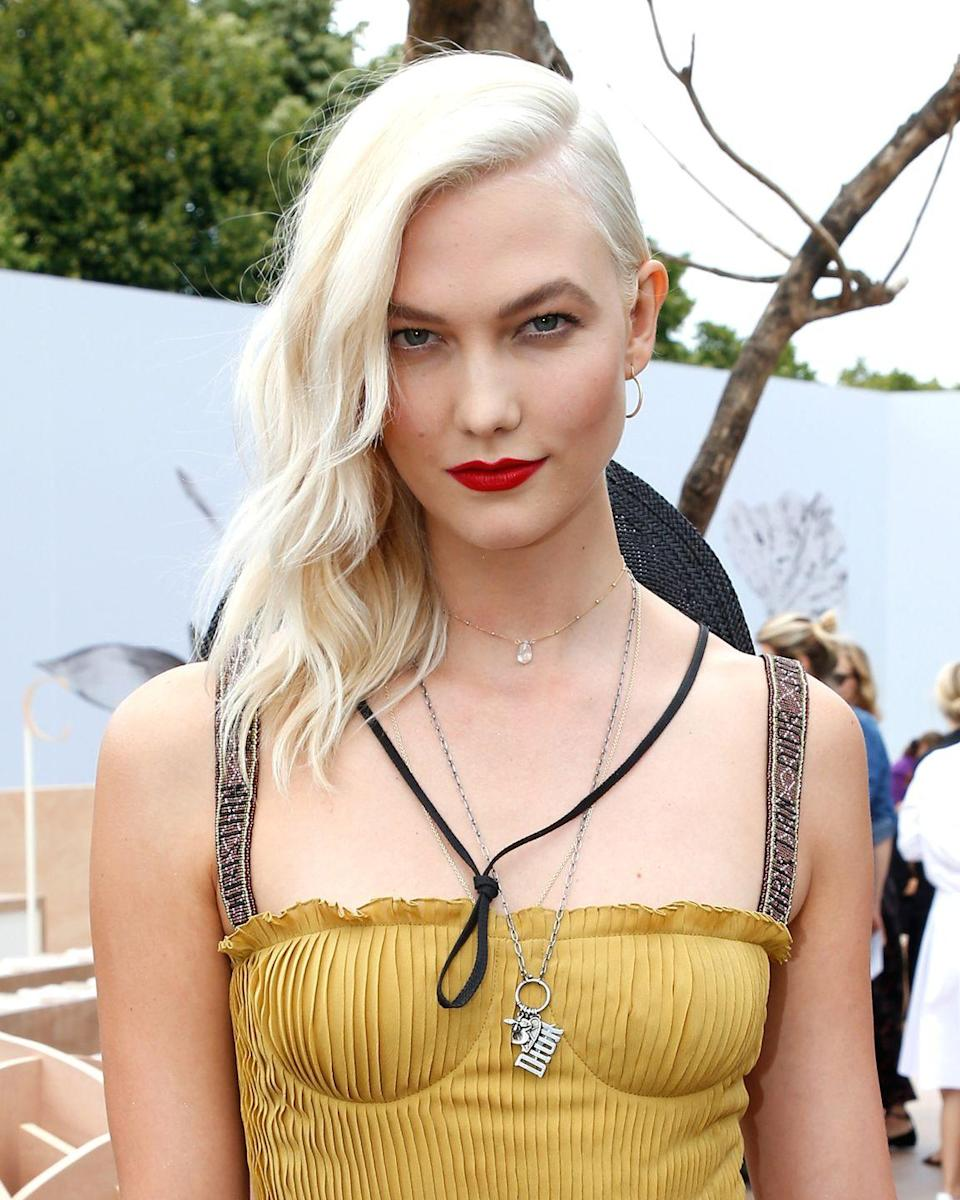 <p>The supermodel gave her golden blonde hair a high fashion update with a new icy white hue.</p>