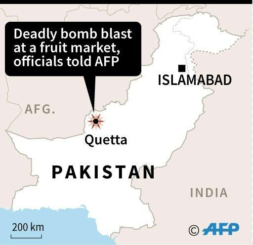 Map of Pakistan locating a deadly bomb attack in Quetta on Friday