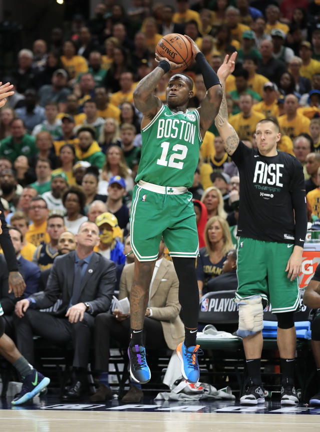 INDIANAPOLIS, INDIANA - APRIL 19: Terry Rozier III #12 of the Boston Celtics shoots the ball against the Indiana Pacers in game three of the first round of the 2019 NBA Playoffs at Bankers Life Fieldhouse on April 19, 2019 in Indianapolis, Indiana. (Photo by Andy Lyons/Getty Images)