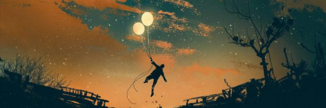 illustration of a man holding two balloons and floating over the ground at sunset