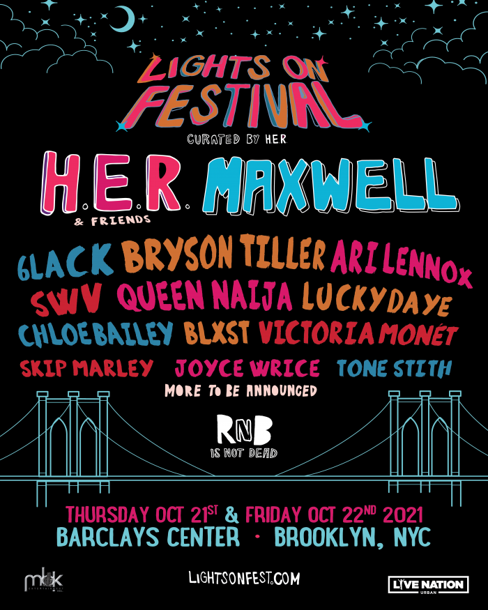 H.E.R. Lights On Festival poster for Brooklyn