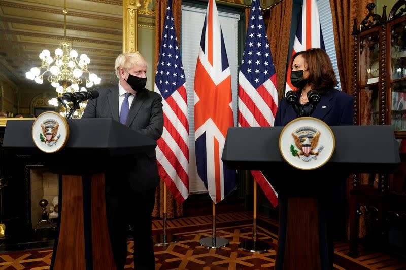 U.S. Vice President Harris meets with Britain's Prime Minister Johnson in Washington