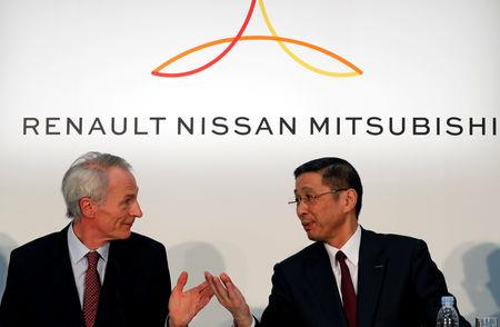 FILE PHOTO : Renault, Nissan and Mitsubishi chiefs hold a news conference in Yokohama