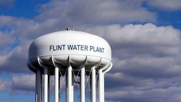 PHOTO: The Flint Water Plant water tower is seen in Flint, Mich., March 21, 2016. (Carlos Osorio/AP, FILE)