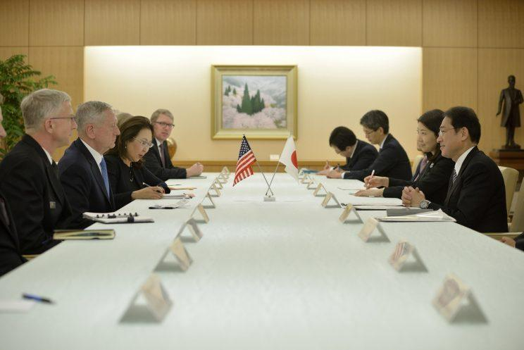 U.S. Defense Secretary James Mattis, second left, and Japan's Minister of Foreign Affairs Fumio Kishida, right, meet last month in Tokyo.