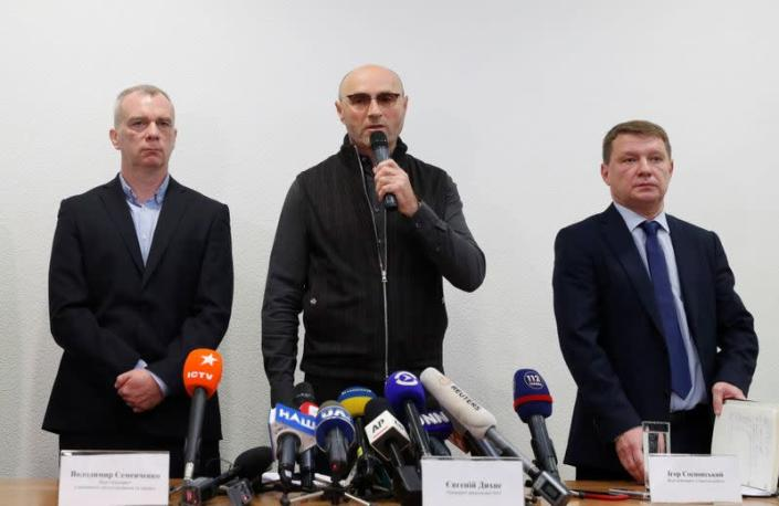 Ukraine International Airlines president Yevhenii Dykhne speaks during a news briefing following the crash of the Boeing 737-800 plane, at Boryspil International Airport