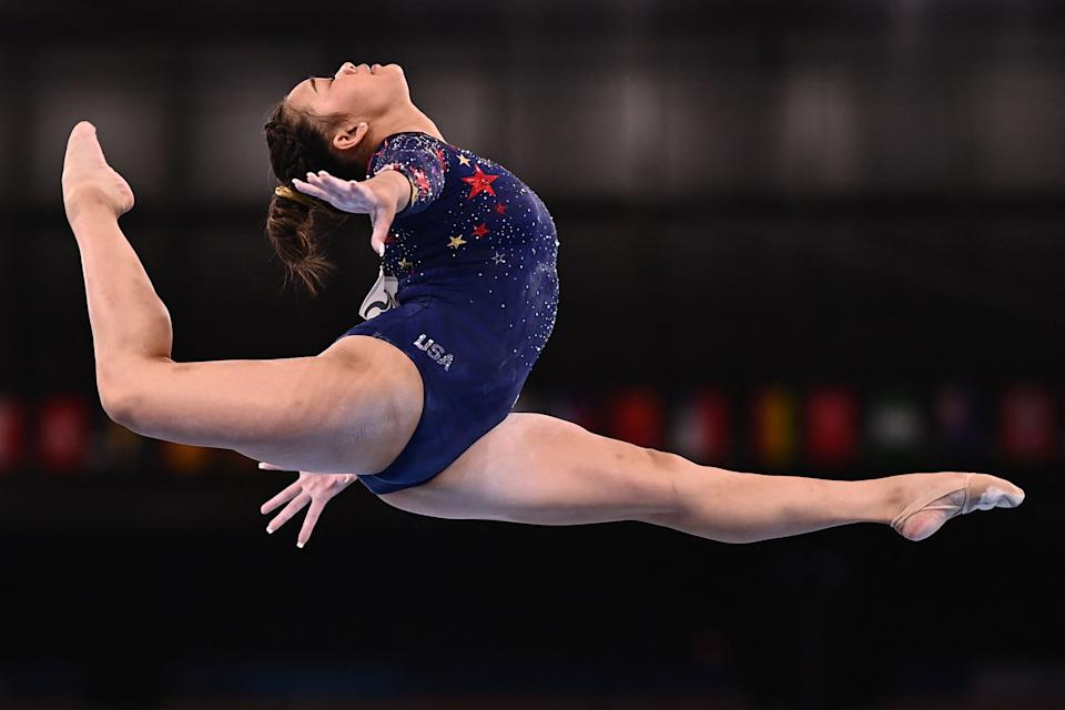 <p>USA's Grace Mc Callum competes in the artistic gymnastics balance beam event of the women's qualification during the Tokyo 2020 Olympic Games at the Ariake Gymnastics Centre in Tokyo on July 25, 2021. (Photo by Loic VENANCE / AFP) (Photo by LOIC VENANCE/AFP via Getty Images)</p>