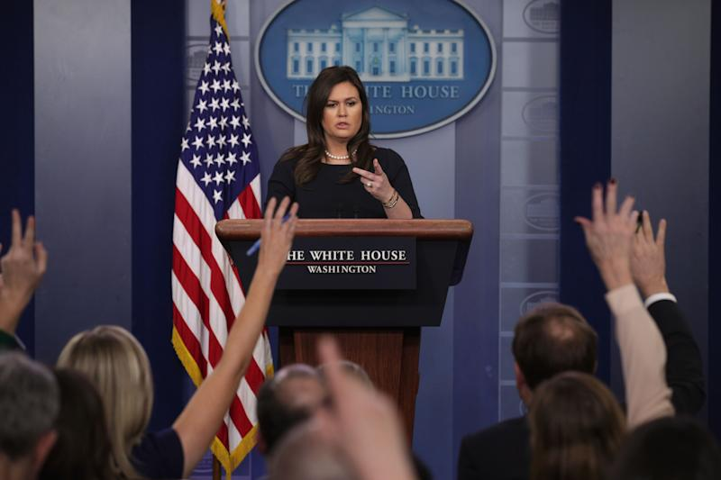White House Press Secretary Sarah Sanders speaks during a news briefing at the James Brady Press Briefing Room of the White House March 11, 2019 in Washington, DC. | Alex Wong—Getty Images