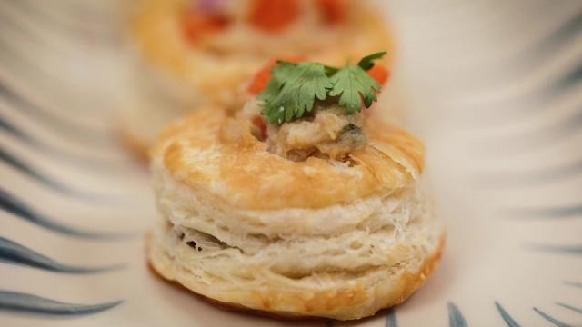 Saba fish breakfast cups on a plate