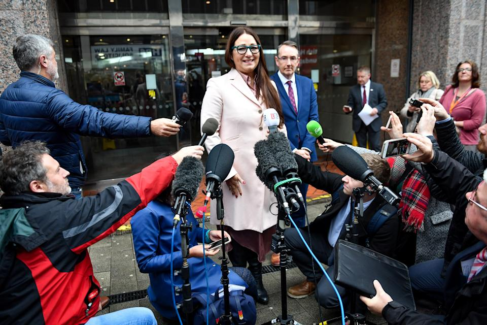 Anderton Park headteacher Sarah Hewitt-Clarkson speaks to media after a High Court judge permanently banned anti-LGBT protests outside the Primary School in Birmingham.