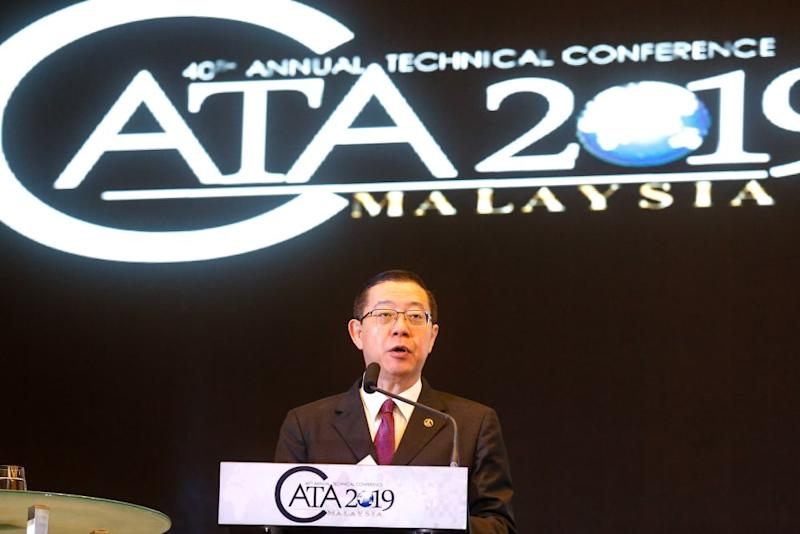 Finance Minister Lim Guan Eng delivers his speech during the 40th CATA Annual Technical Conference 2019 at the St Giles Wembley Hotel, George Town November 11, 2019. — Picture by Sayuti Zainudin