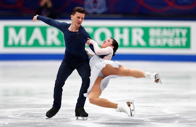 Figure Skating - World Figure Skating Championships - The Mediolanum Forum, Milan, Italy - March 24, 2018 Italy's Charlene Guignard and Marco Fabbri during the Ice Dance Free Dance REUTERS/Alessandro Garofalo