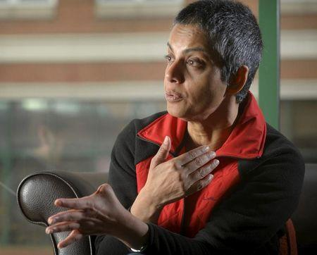 FILE PHOTO: Rafida Ahmed, who is recovering from injuries including the loss of her thumb suffered during a hacking attack by jihadi assailants, speaks during an interview with Reuters near Washington April 23, 2015. REUTERS/Stringer
