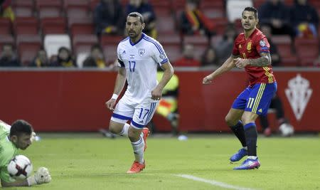 Football Soccer - Spain v Israel - 2018 World Cup Qualifying European Zone - Group G - El Molinon Stadium, Gijon, Spain, 24/3/17 Spain's Vitolo (R) scores second goal. REUTERS/Eloy Alonso
