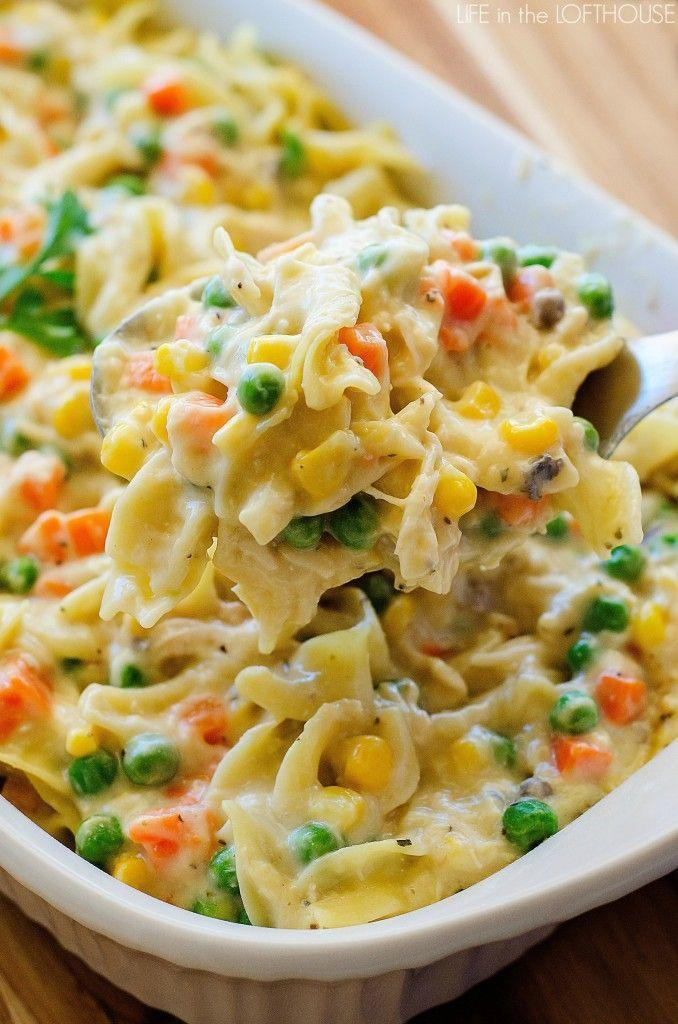 """<p>Peas, carrots,and corn give this classic casserole its fall colors.</p><p><strong>Get the recipe at <a href=""""http://life-in-the-lofthouse.com/chicken-noodle-casserole/"""" rel=""""nofollow noopener"""" target=""""_blank"""" data-ylk=""""slk:Life in the Lofthouse"""" class=""""link rapid-noclick-resp"""">Life in the Lofthouse</a>.</strong></p>"""