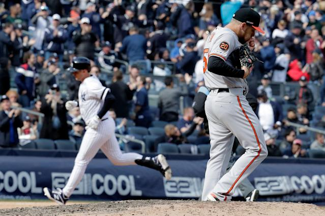 The Baltimore Orioles' pitching staff is allowing a record number of home runs. The New York Yankees' offense is taking advantage. (AP Photo/Julio Cortez)