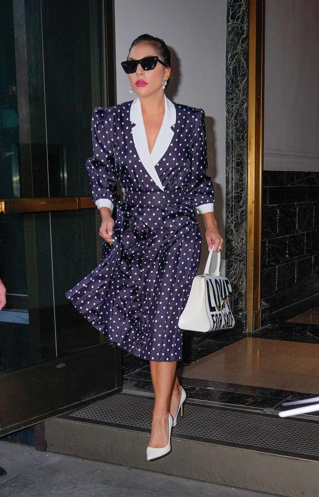 <p>The actor channeled Princess Diana in a 1980s-style polka-dot midi dress plus white pumps. </p>
