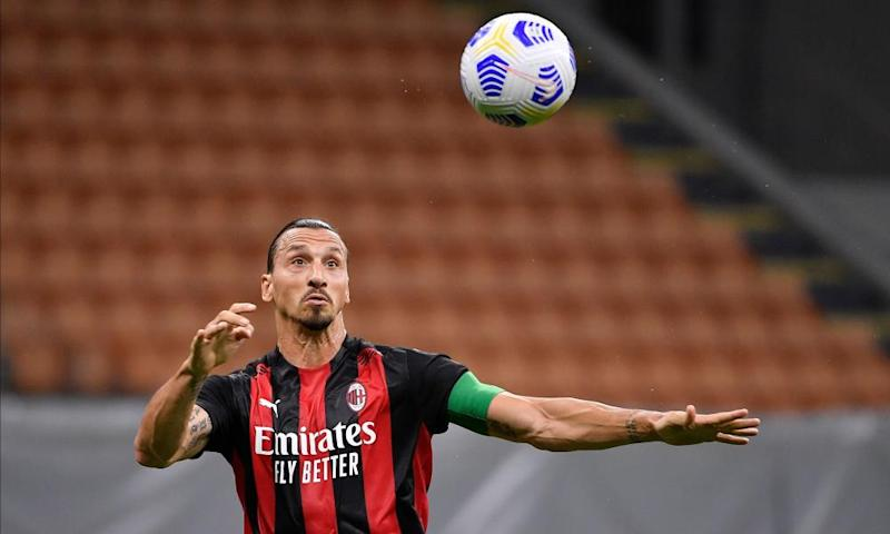 Zlatan Ibrahimovic in action against Monza in a pre-season friendly