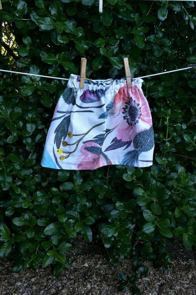 A girl's skirt made from a floral Kmart tea towel