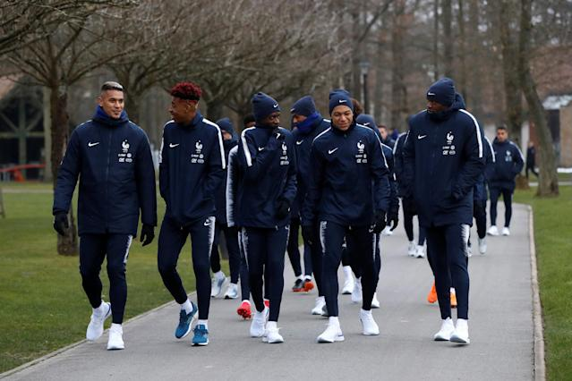 Soccer Football - France Training - Clairefontaine, France - March 19, 2018 France's Kylian Mbappe and team mates arrive for training REUTERS/Gonzalo Fuentes