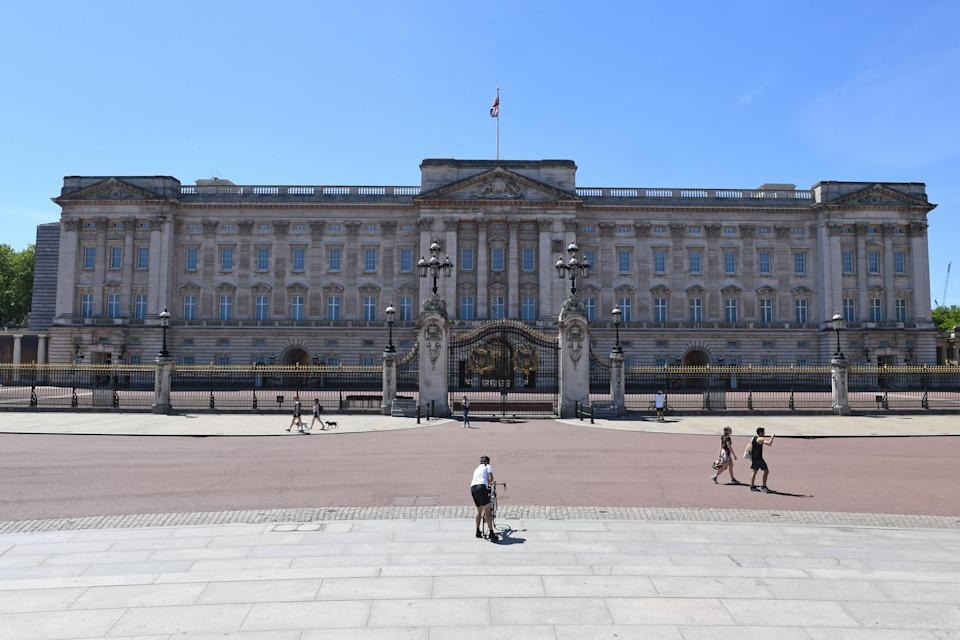 Buckingham Palace looking empty in London, after the introduction of measures to bring the country out of lockdown. (Photo by Stefan Rousseau/PA Images via Getty Images)