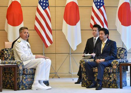 Admiral Philip S. Davidson, Commander of U.S. Indo-Pacific Command, meets with Japan's Prime Minister Shinzo Abe in Tokyo