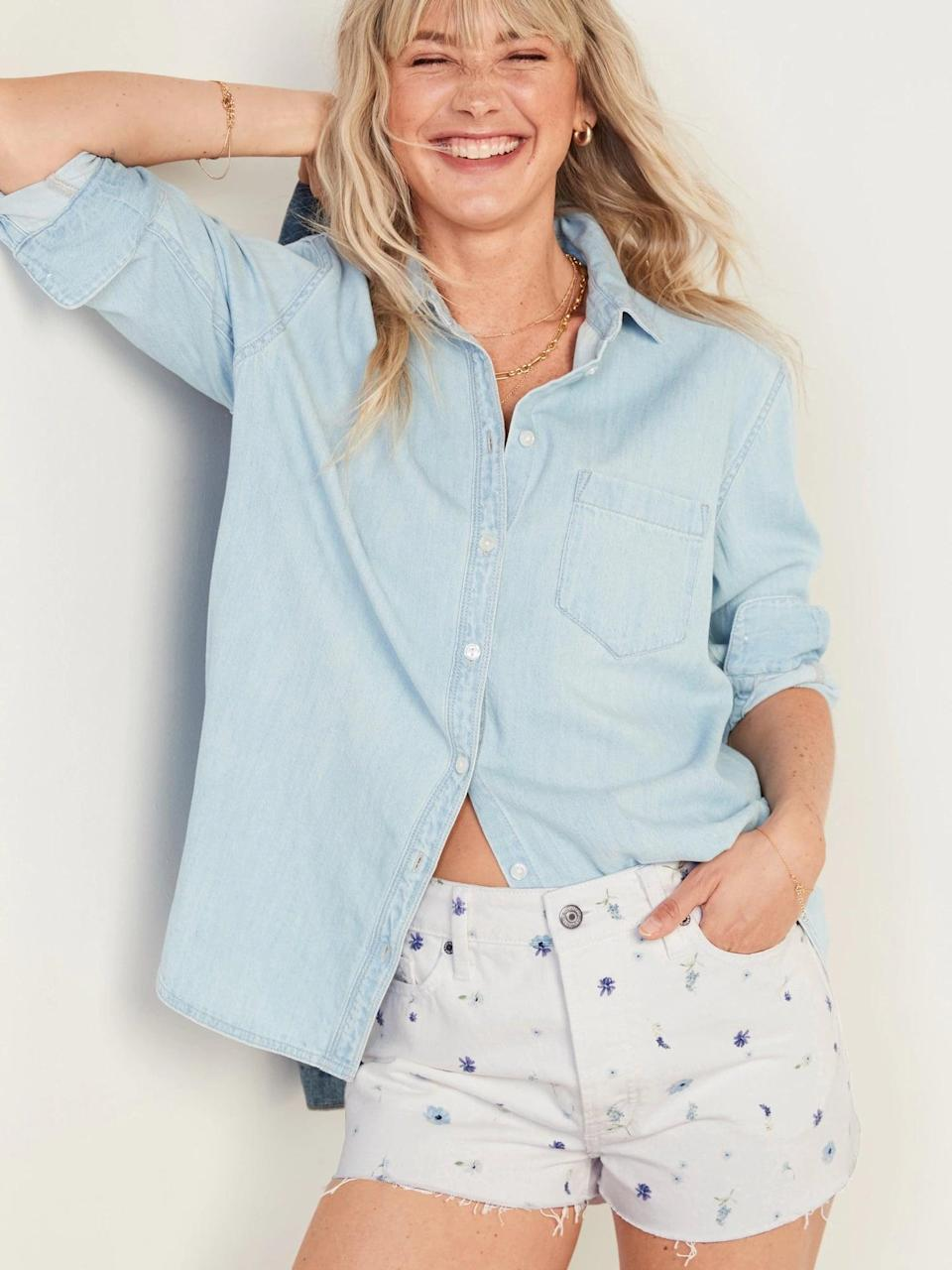 <p>These <span>Old Navy High-Waisted O.G. Straight Floral Button-Fly Cut-Off Jean Shorts</span> ($25, originally $35) bring a bouquet to your bottoms and pair so nicely with solid blue tops, too.</p>