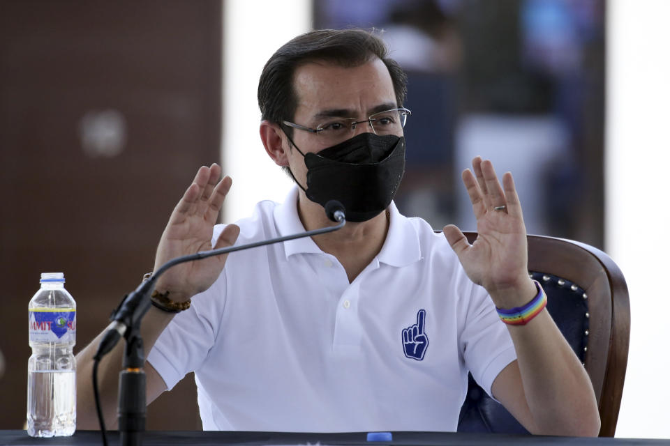 Manila Mayor Isko Moreno answers questions after he declared his bid to run for president in a speech at a public school in the slum area near the place where he grew up in Manila, Philippines on Wednesday Sept. 22, 2021. The popular mayor of the Philippine capital said Wednesday he will run for president in next year's elections, the latest aspirant in what is expected to be a crowded race to succeed the controversial Rodrigo Duterte. (AP Photo)