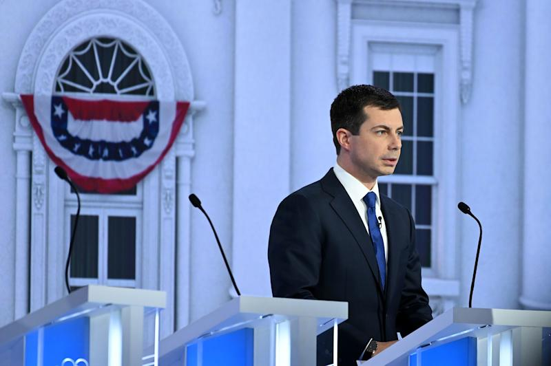 Democratic presidential hopeful Mayor of South Bend, Indiana Pete Buttigieg, looks on during a break of the fifth Democratic primary debate of the 2020 presidential campaign season co-hosted by MSNBC and The Washington Post at Tyler Perry Studios in Atlanta, Georgia on November 20, 2019.