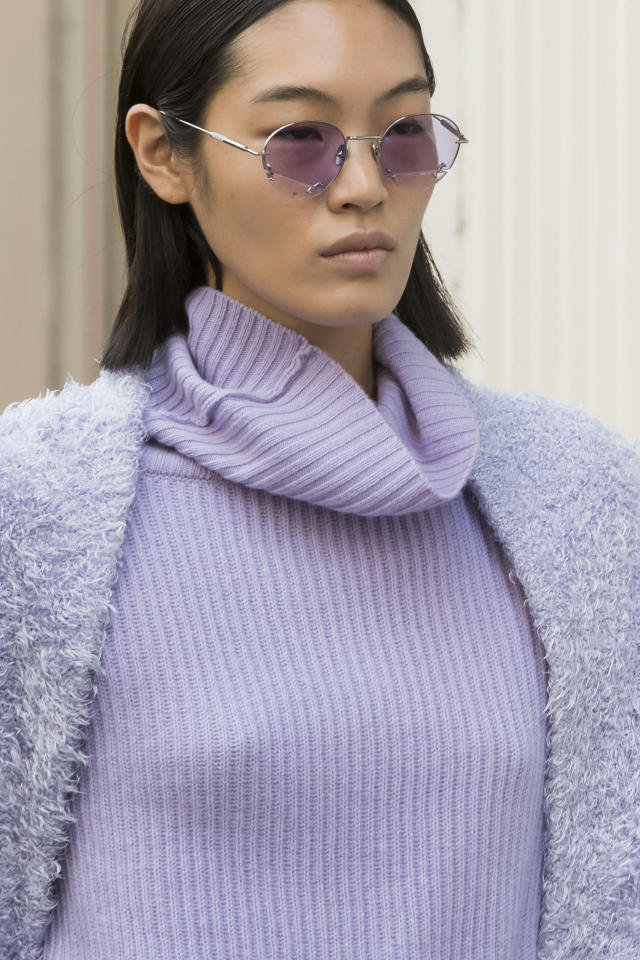<p><i>Circular lavender sunglasses from the SS18 Baja East collection. (Photo: ImaxTree) </i></p>