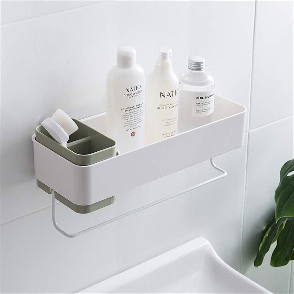 "<p>For a sleek, modern look, opt for this <a href=""https://www.popsugar.com/buy/She-Home-Bathroom-Wall-Organizer-466877?p_name=She%27s%20Home%20Bathroom%20Wall%20Organizer&retailer=amazon.com&pid=466877&price=23&evar1=savvy%3Aus&evar9=46366430&evar98=https%3A%2F%2Fwww.popsugar.com%2Fphoto-gallery%2F46366430%2Fimage%2F46366667%2FPerfect-Right-Above-Your-Tub&list1=shopping%2Camazon%2Corganization%2Cshowers%2Cbathrooms&prop13=api&pdata=1"" rel=""nofollow"" data-shoppable-link=""1"" target=""_blank"" class=""ga-track"" data-ga-category=""Related"" data-ga-label=""https://www.amazon.com/SHES-HOME-Bathroom-Organizer-Toothbrush/dp/B07P7KZTK9/ref=sxbs_sxwds-stvp?keywords=shower+organizer&amp;pd_rd_i=B07P7KZTK9&amp;pd_rd_r=8dd5141a-4c33-4684-b020-8a74845fea16&amp;pd_rd_w=IhZJB&amp;pd_rd_wg=drJqP&amp;pf_rd_p=a6d018ad-f20b-46c9-8920-433972c7d9b7&amp;pf_rd_r=TN7SHEA0B8HVAHHE4G8F&amp;qid=1562864628&amp;s=gateway"" data-ga-action=""In-Line Links"">She's Home Bathroom Wall Organizer</a> ($23).</p>"