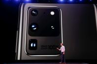Drew Blackard of Samsung Electronics speaks on stage during Samsung Galaxy Unpacked 2020 in San Francisco