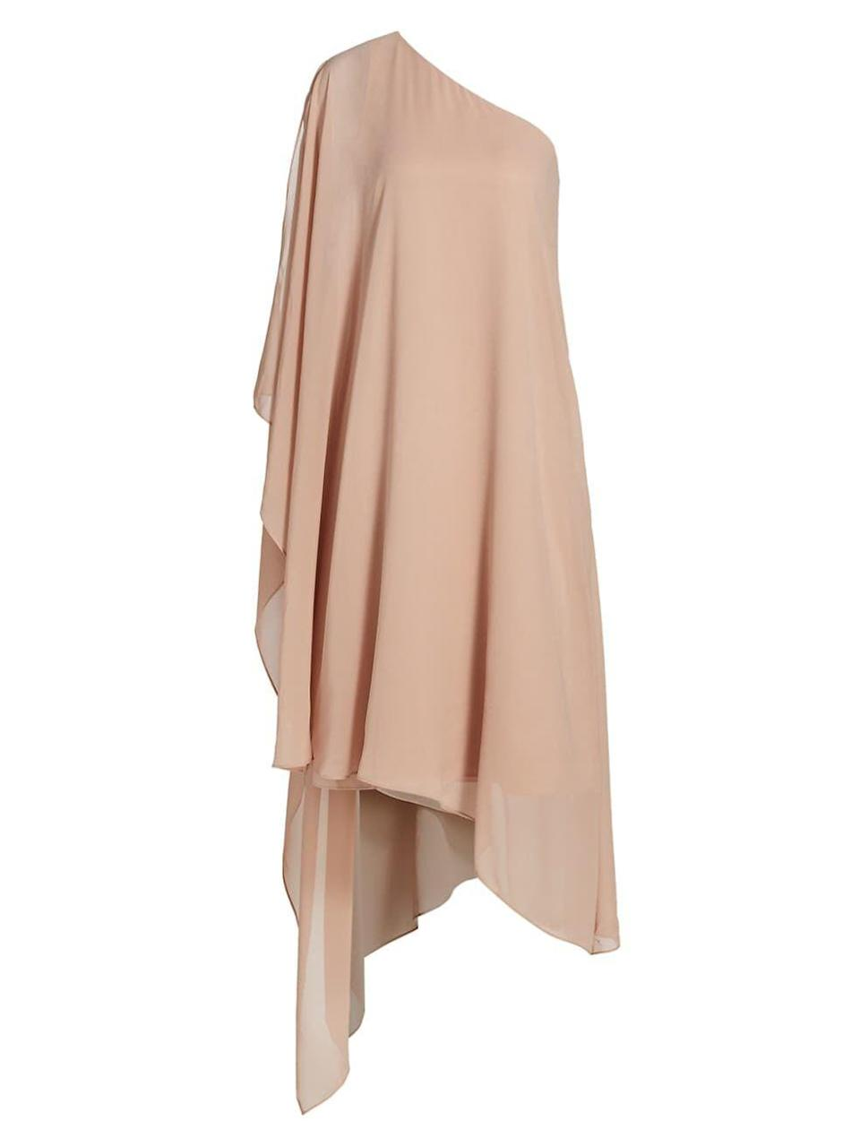 """<p><strong>Halston</strong></p><p>saksfifthavenue.com</p><p><strong>$595.00</strong></p><p><a href=""""https://go.redirectingat.com?id=74968X1596630&url=https%3A%2F%2Fwww.saksfifthavenue.com%2Fproduct%2Fhalston-ellie-draped-cocktail-dress-0400014836146.html&sref=https%3A%2F%2Fwww.townandcountrymag.com%2Fstyle%2Ffashion-trends%2Fg12096491%2Fbest-fall-wedding-guest-dresses%2F"""" rel=""""nofollow noopener"""" target=""""_blank"""" data-ylk=""""slk:Shop Now"""" class=""""link rapid-noclick-resp"""">Shop Now</a></p><p>This breezy taupe dress is certain to make n elegant entrance. </p>"""