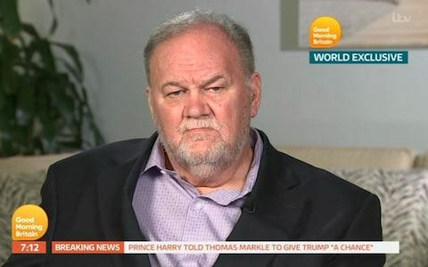 Thomas Markle, father of Meghan Markle, the Duchess of Sussex, gives his first ever interview on Good Morning Britain - Credit: GOOD MORNING BRITAIN