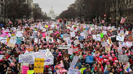 Hundreds of thousands march down Pennsylvania Avenue during the Women's March. REUTERS/Bryan Woolston